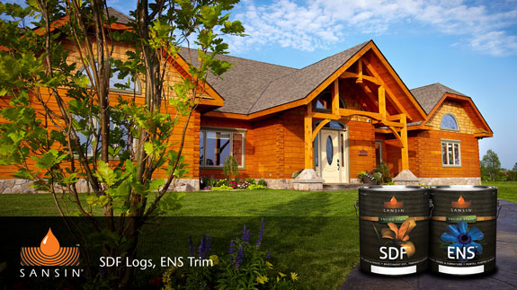Sansin Sdf One Coat Finish For Log Homes Siding Decks And Wooden