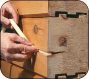 Install backer rod into the log checks